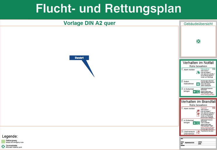 Flucht- und Rettungsplan - Vorlage DIN A2 quer