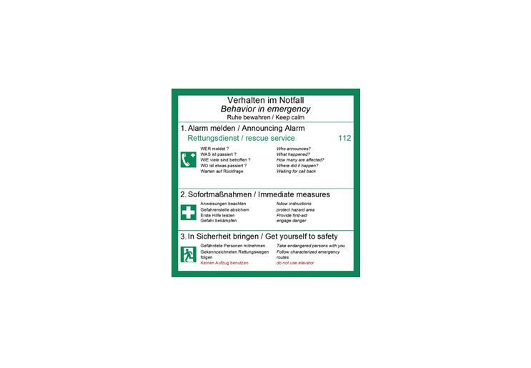 Flucht- und Rettungsplan - Behavior in emergency