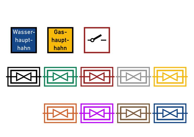 Symbolbibliothek - Absperreinrichtungen